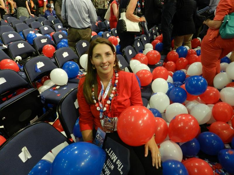 Michigan delegate Ronna Romney-McDaniel sits in the aftermath of the big balloon drop at the Republican National Convention in Tampa, Florida
