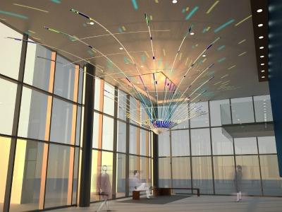 A public art installation proposed for the Justice Center Lobby approved by the city's art commission in May.