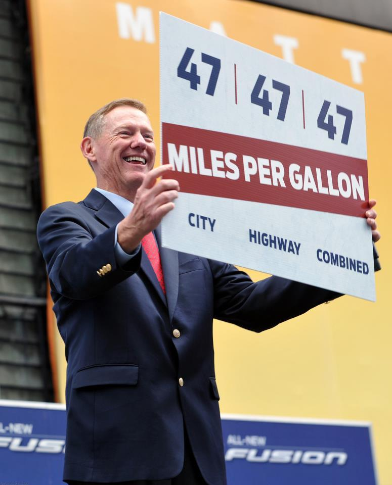 Ford CEO Alan Mulally in New York on Tuesday, touting the new hybrid Fusion's segment-leading fuel economy