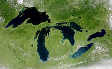 The five Great Lakes.