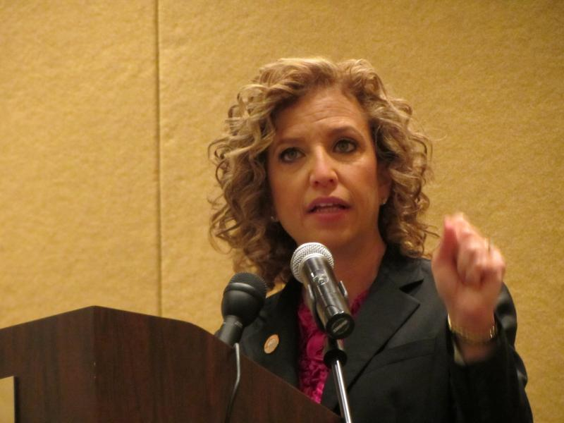 "Democratic National Committee Chair Debbie Wasserman Schultz told delegates they must work to put Michigan in the ""blue column"" for Barack Obama."