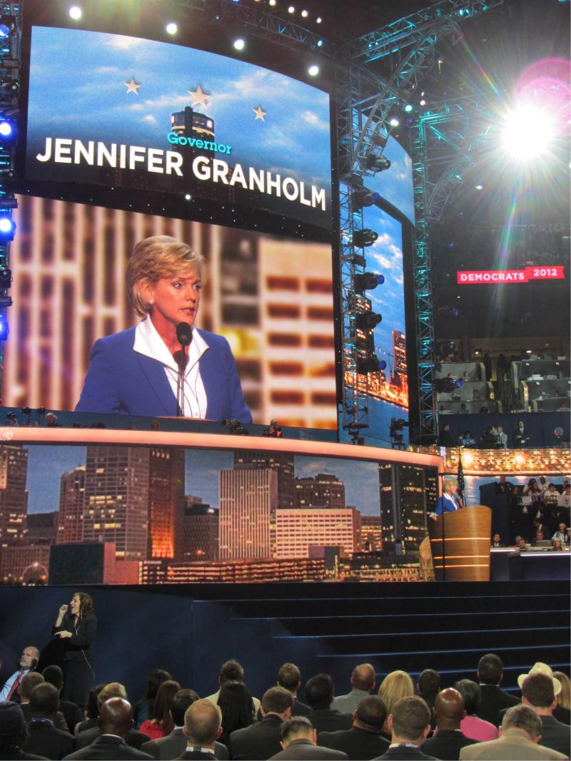 Former Michigan Governor Jennifer Granholm got the Michigan delegation and then the entire arena on its feet during her speech at the Democratic National Convention.