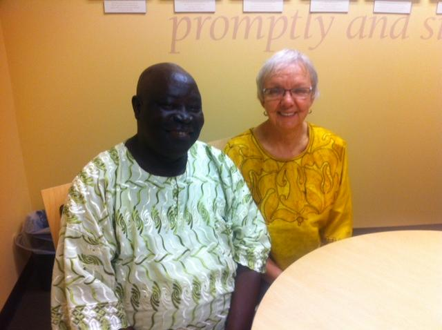 Joseph Kpukuyou and Jackie Ladwein, present day. Joseph is in Michigan, for the first time, to help coordinate a student exchange program
