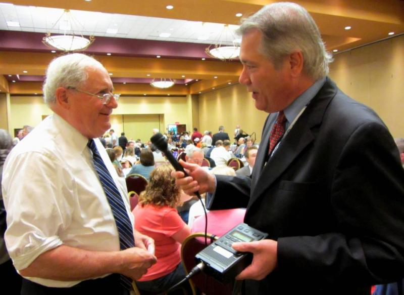Michigan Radio's Lester Graham talks with Senator Carl Levin (D-MI) at the Democratic National Convention in Charlotte, N.C.