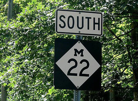 State route M-22 winds through Michigan's scenic Leelanau County.