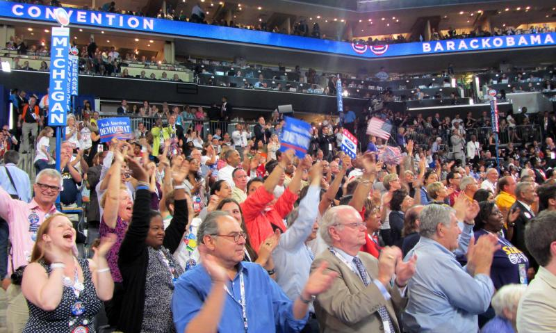 The Michigan delegation was on its feet during most of the speech. By the end, the entire arena was on its feet cheering.