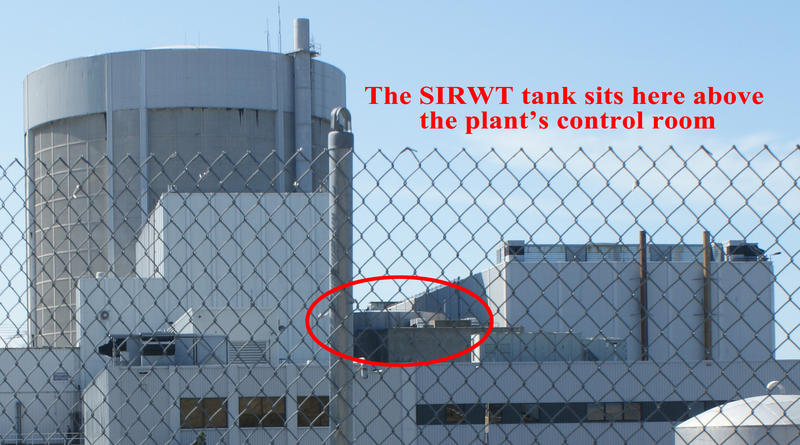 The SIRWT tank on top of Palisades Nuclear Power Plant