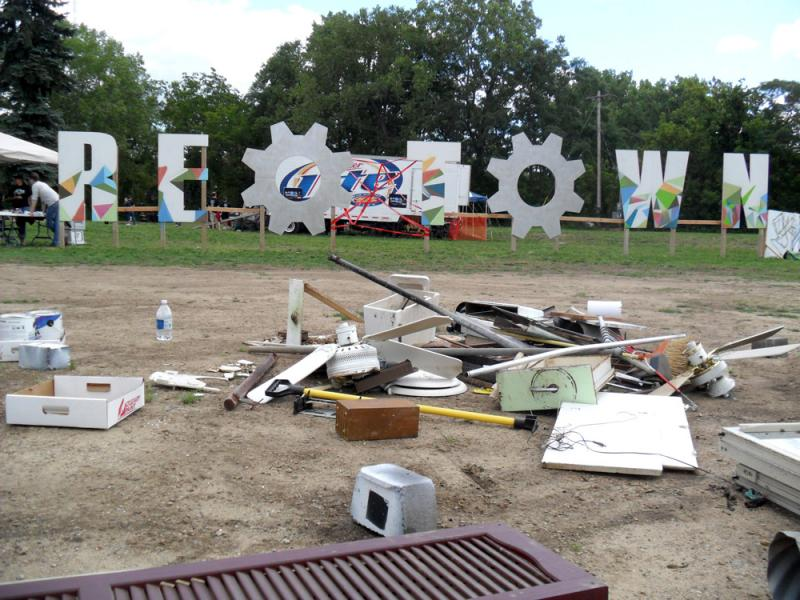 "Artists during ""Art Attack"" made art out of this pile of materials taken from a condemned home in REO Town."