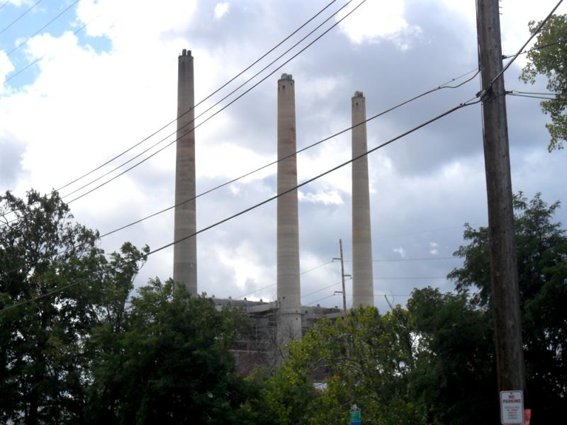 The Board of Water and Light's old smokestacks near General Motors Grand River Assembly Plant.