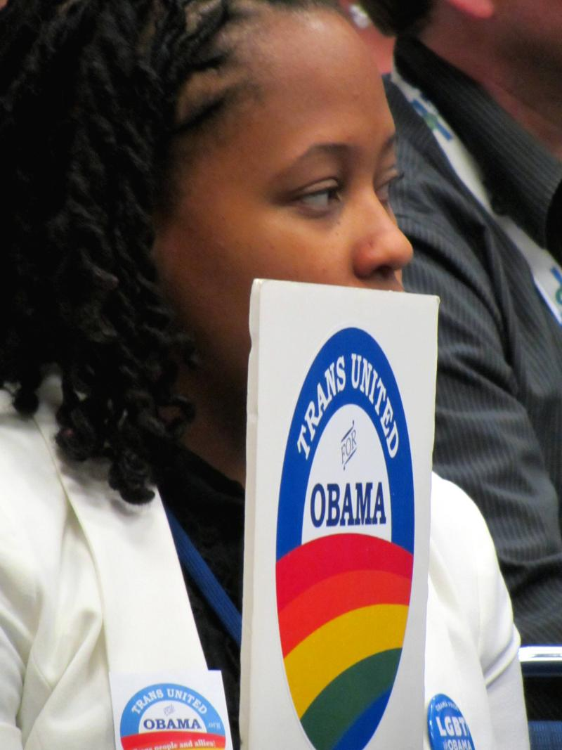 Participant at LGBT caucus at the Democratic National Convention. The Democrats' platform includes supporting same sex marriage. The Republican platform calls for a Constitutional amendment banning same sex marriage.