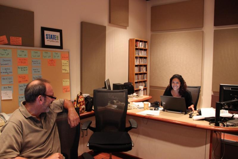 Engineer Bob Skon and producer Mercedes Mejia