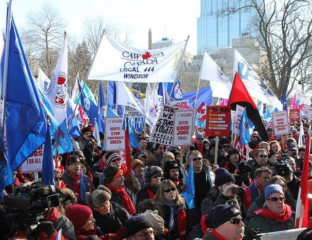 Canadian Auto Workers union at a rally.