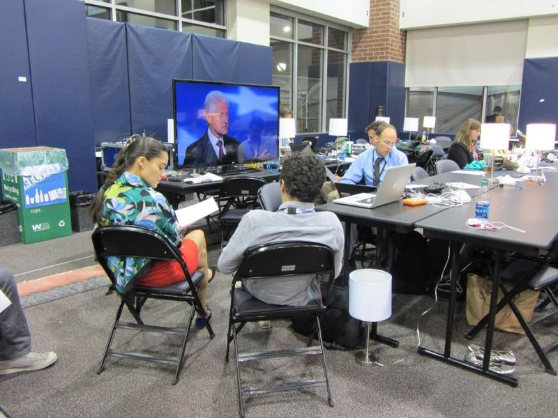 Reporters in the press room of the DNC