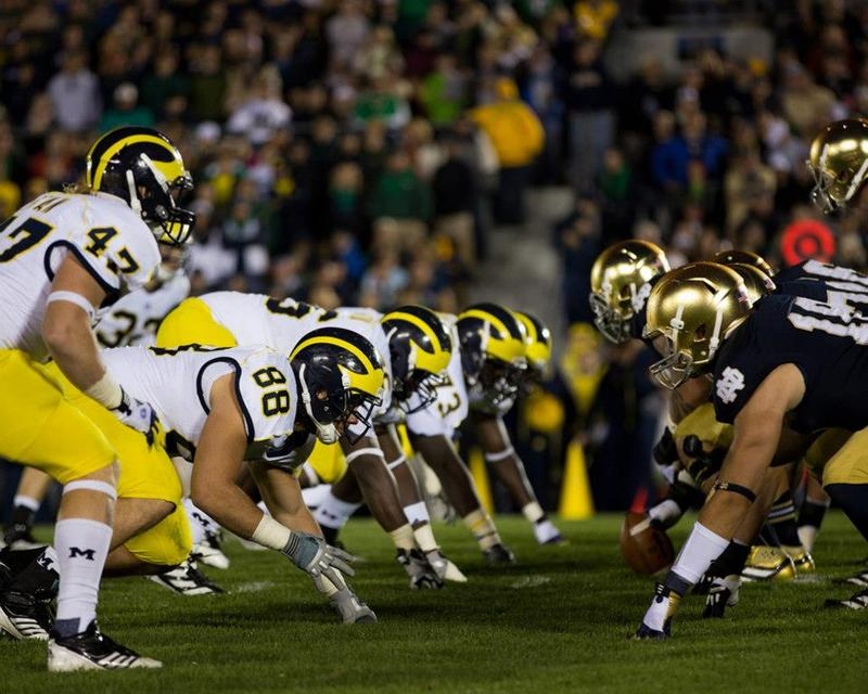 Michigan vs. Notre Dame. The two teams play their final game in 2014.