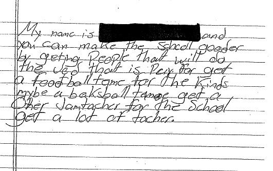 D.F. will be an 8th grader this year. According to the complaint, the longest writing assignment he had to complete in 7th grade was a three-paragraph summary of a book. His reading proficiency is that of a first grader.