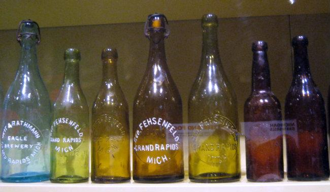 These rare, green and amber glass Fehsenfeld beer bottles are from before 1900.
