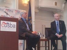Governor Snyder and Canadian Consul General Roy Norton at a town hall meeting Monday.