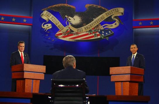 Mitt Romney and President Barack Obama square off in their first debate.
