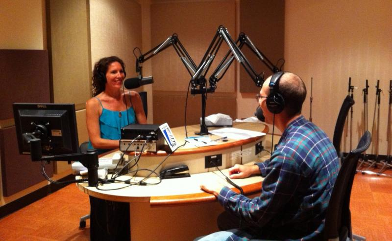 Host Allison Downey and  Producer Zak Rosen in Studio East at Michigan Radio.