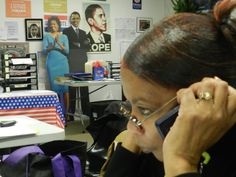 A Democratic volunteer in Lansing calls Michigan voters to see who they support for president.
