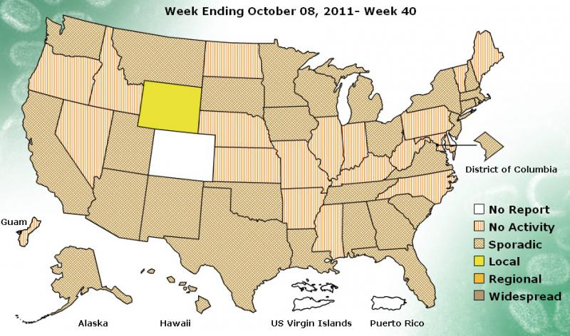 "Weekly influenza activity across the U.S. and its territories. Michigan is listed as ""sporadic."""