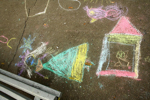 child's drawing on chalkboard