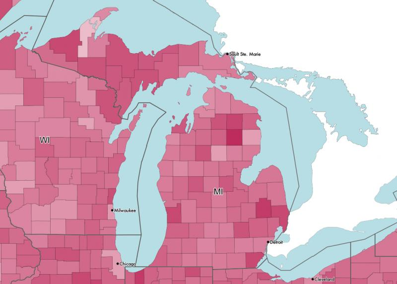 Gender-based income inequality by county. 