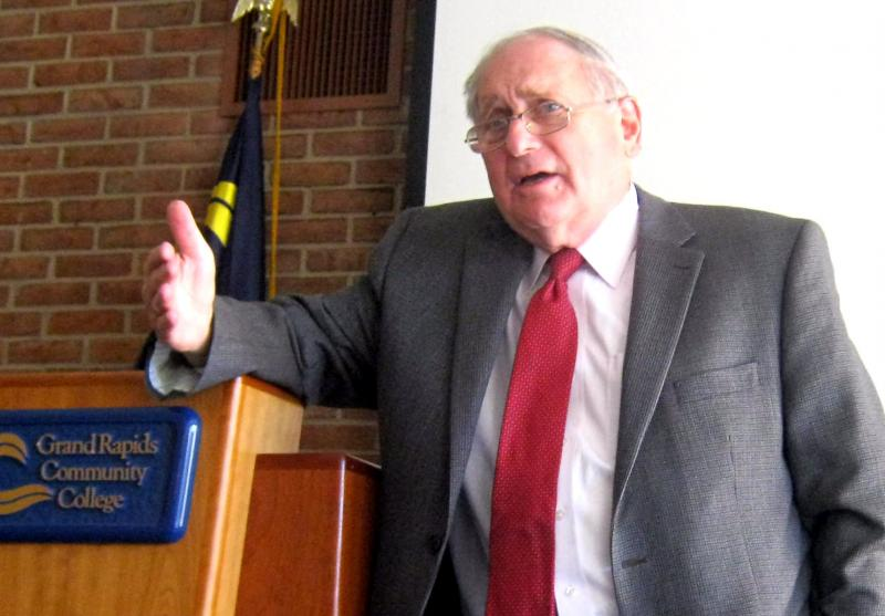 US Senator Carl Levin at a public appearance at Grand Rapids Community College Thursday afternoon.