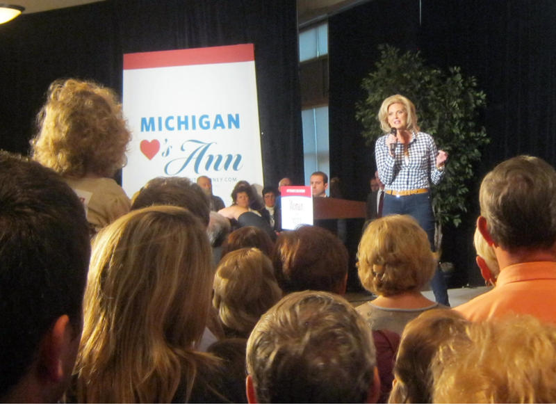 A few hundred people showed up to a conference center outside of Grand Rapids early Friday morning to hear Ann Romney speak.