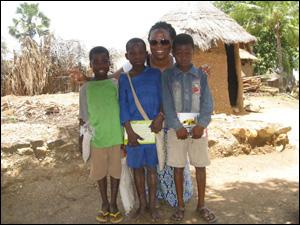 Fulbright recipient Emefah Loccoh with children in Togo, where she's studying HIV/AIDS. (Photo courtesy of Emefah Loccoh)