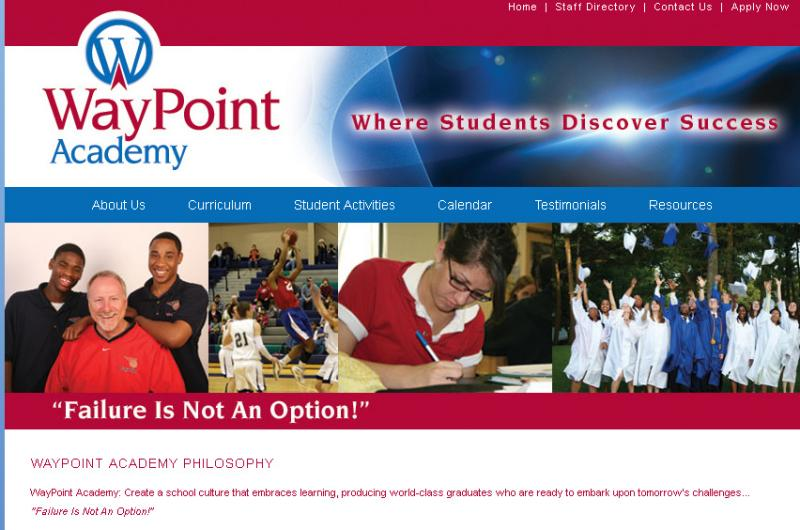 Image of the homepage for the WayPoint Academy charter school in Muskegon.