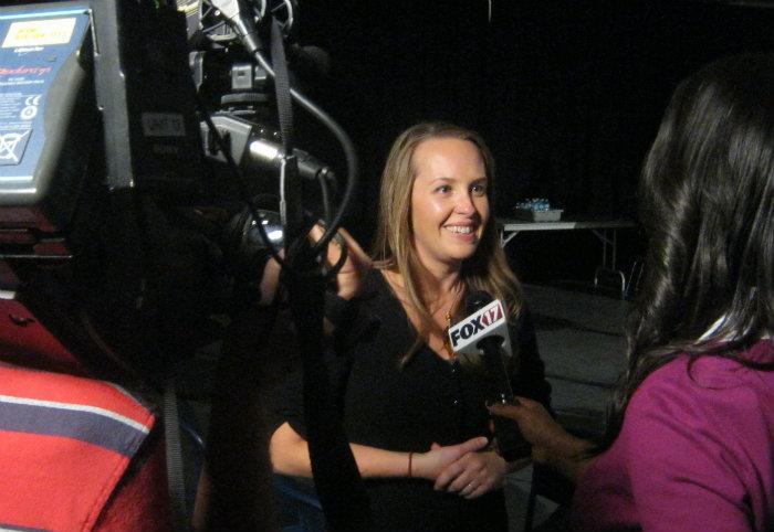 ArtPrize 2012 winner Adonna Khare does live TV interviews following her win Friday night in Grand Rapids.