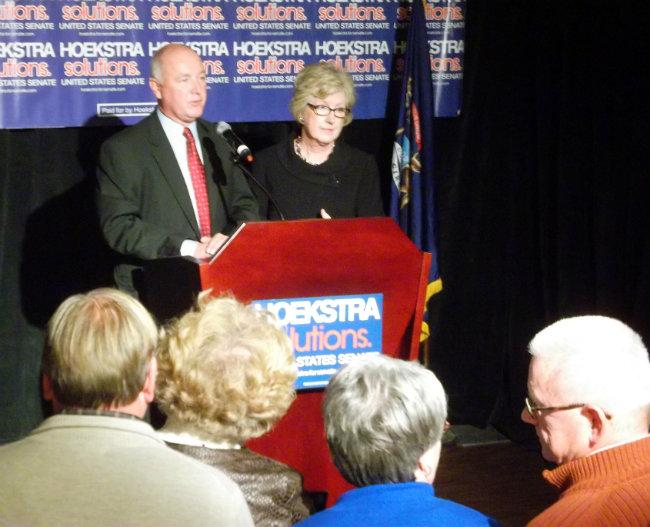 Pete Hoekstra and his wife Diane speak to supporters in Grand Rapids Tuesday night.