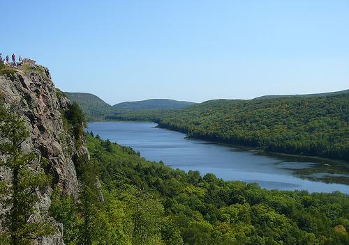 Lake of the Clouds, in Porcupine Mountains Wilderness State Park. The proposed Copperwood Mine would be near the edge of the park.