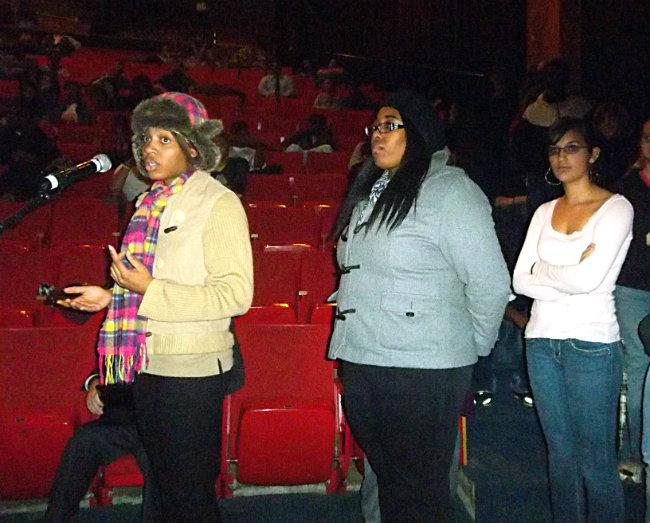 2012 Creston grad Angelique Long, Senior Saryane Ward, and Freshman Toni Cortazar (left to right) speak out against closing Creston High School Thursday night.