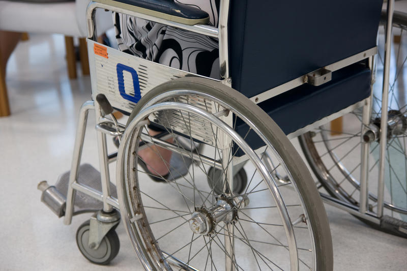 A wheelchair in a hospital.
