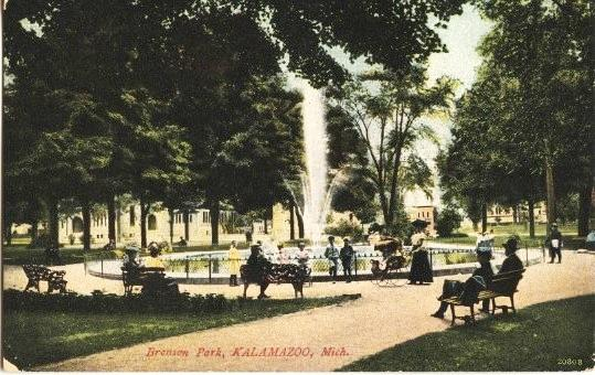 Kalamazoo's Bronson Park, circa 1900-1910. Lincoln spoke here in 1856.