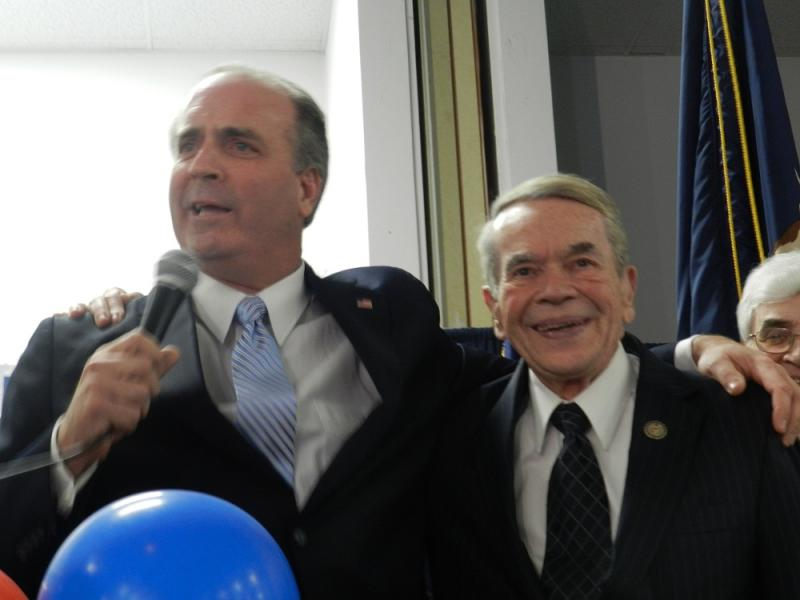 Democrat Dan Kildee (left) celebrates his election to Congress, at his side outgoing Congressman Dale Kildee