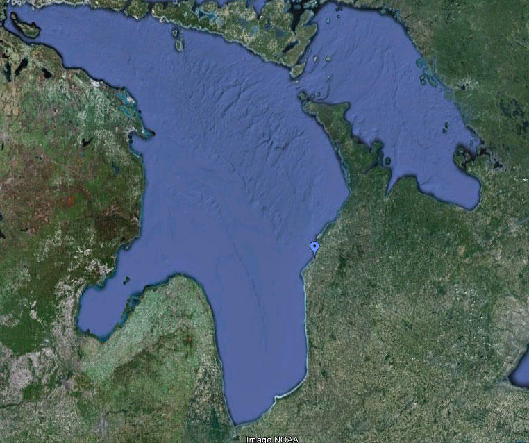 The blue pin shows the site of the proposed nuclear waste storage site near Kincardine, Ontario.