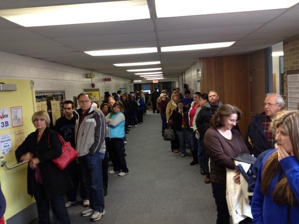 Long lines at polling places in Michigan.