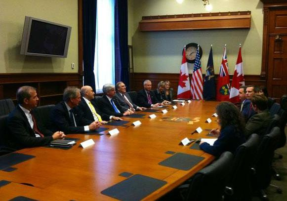 Michigan Governor Snyder in Canada visiting with Ontario Premier Dalton McGuinty.