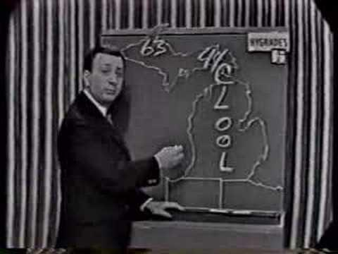 Sonny Eliot delivers a weather forecast in the early days of local TV news in Detroit