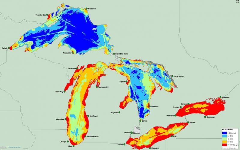 The research team used the combined influence of 34 different threats to map environmental stress on the Great Lakes.