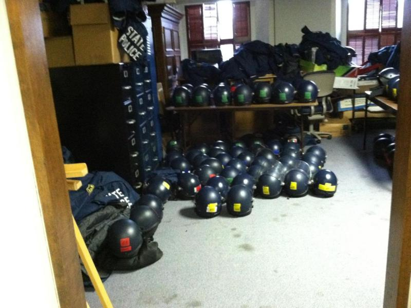 Michigan State Police helmets in a storage room at the Capitol in Lansing.