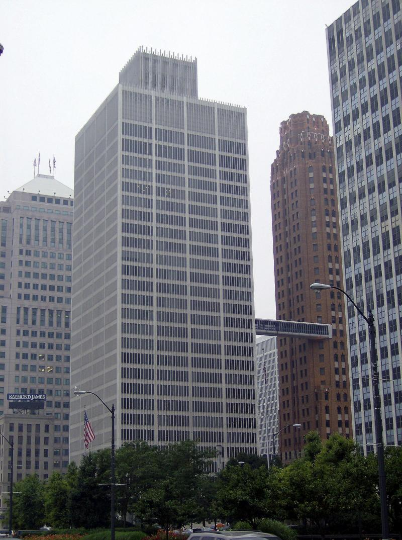 The One Woodward building is located at the corner of Woodward and Jefferson Avenue in Detroit.
