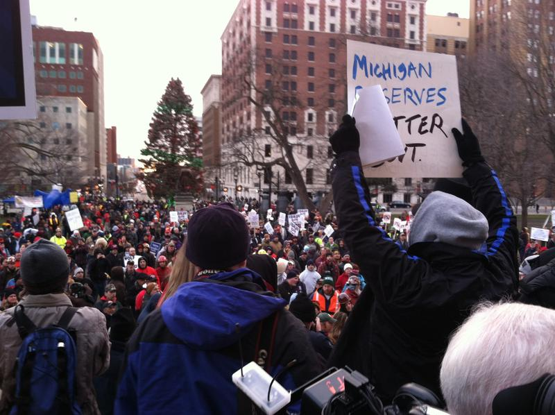 "People protest the ""so-called"" right-to-work bills in Lansing."