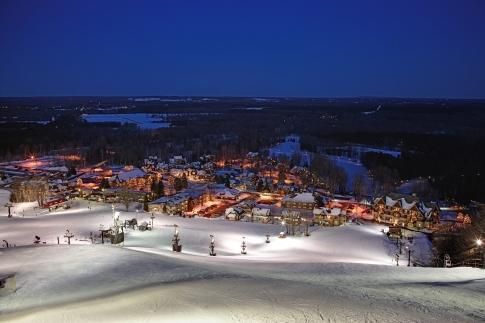 Michigan's Crystal Mountain Ski Resort at night