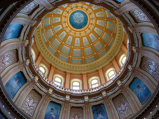 Looking up into the rotunda of the Michigan Capitol.