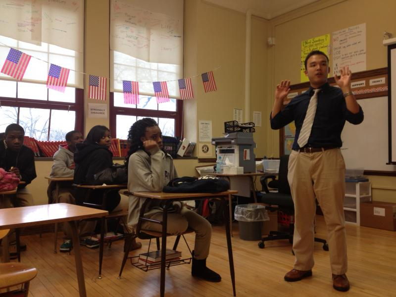 Civics teacher Jonathan Hui, like 25 percent of teachers at Denby, is from the Teach For America program.