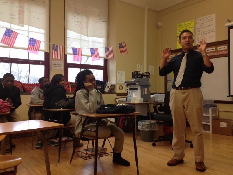 Civics teacher Jonathan Hui, like 25 percent of teachers at Denby, is from the Teach For America program.